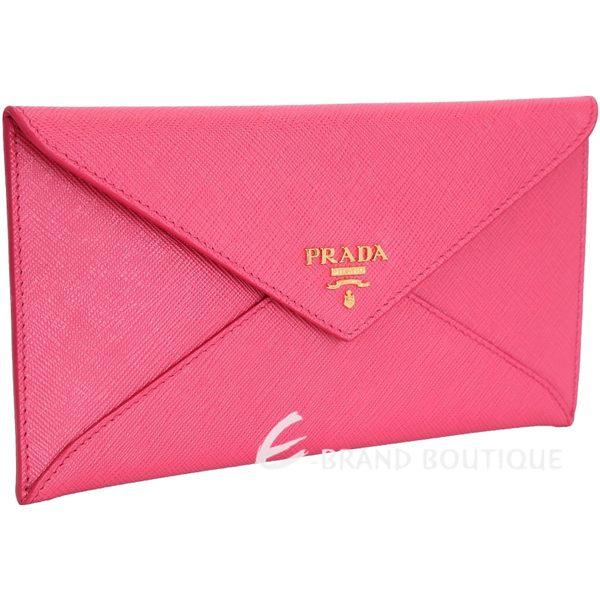 PRADA 信封造型防刮牛皮長夾/手拿包(桃粉色) 1620985-41