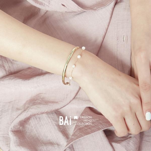 手鍊 優雅珍珠雙圈帶鍊C型手環-BAi白媽媽【306137】