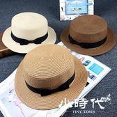 遮陽帽 草帽子潮女夏天蝴蝶結草編英倫禮帽防曬沙灘帽子