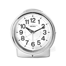 SEIKO 精工 / 數字刻度 滑動式秒針 自動感光 貪睡鬧鈴 靜音鬧鐘 - 銀色 #QHE117S
