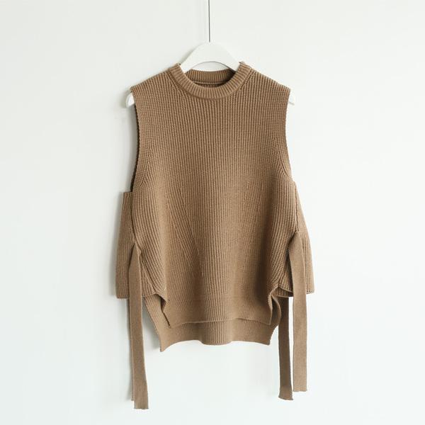 毛衣背心女無袖寬鬆背心女2019秋季新款學生短款針織衫繫帶外套