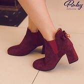 鞋子 後蝴蝶結麂皮粗跟短靴-Ruby s 露比午茶