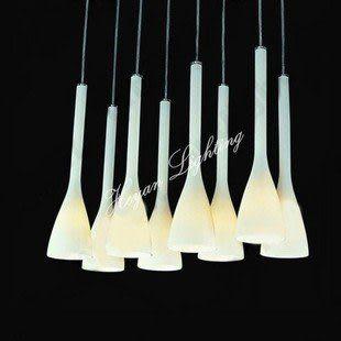 現代簡約時尚典雅餐廳吊燈白玉蘭玻璃吊燈