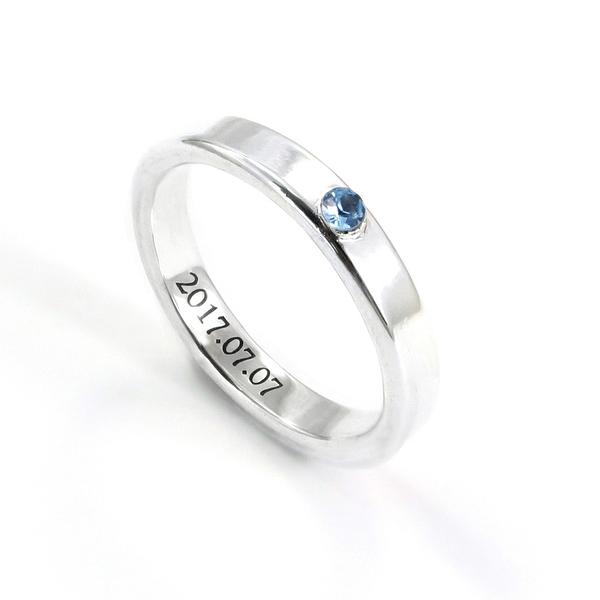 訂製 3mm 質感劃鑲鑽 刻字戒 純銀戒指 (亮面/霧面+5色可選)