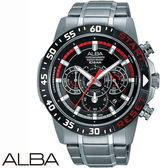 ALBA 賽車黑紅三眼計時鋼帶男錶x44mm・VD53-X239D AT3967X1|名人鐘錶高雄門市