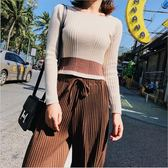 春季 韓版 女裝 條紋 撞色 針織衫 百搭 修身 短款 長袖 套頭 毛衣