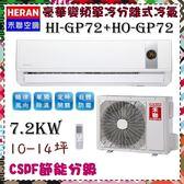 CSPF【HERAN 禾聯】7.2KW 10-14坪 一對一 變頻單冷空調《HI-GP72/HO-GP72》主機板7年壓縮機10保固