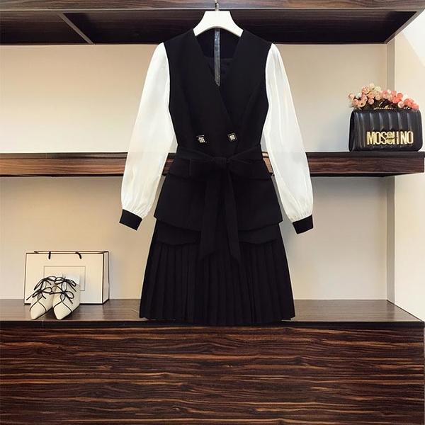 中大尺碼套裝 休閑套裝 兩件套大碼女裝 胖mm時尚拼色西裝收腰百褶裙套裝3F099 胖妹