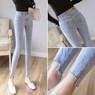 窄管褲 破洞牛仔褲女修身顯瘦小腳夏季薄款高腰緊身九分褲子-Ballet朵朵