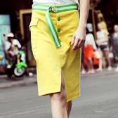 瑪瑪綈2019夏裝新款時尚黃色半身裙女中長款個性開叉包臀裙短裙潮