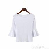 七分袖T恤 2021秋裝七分袖喇叭袖上衣女修身 短款百搭t恤純色中袖坑條棉打底 夢藝