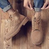 男靴子 馬丁靴 工裝靴英倫風高幫男士真皮軍靴復古百搭沙漠靴男短靴《印象精品》q1351