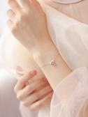 【巷南】925純銀貓咪草莓粉水晶手鍊日系可愛創意配飾招桃花手環