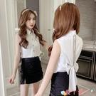 無袖襯衫夏裝2021新款時尚韓版女裝后背蝴蝶結設計感心機無袖短款襯衫上衣 愛丫 新品