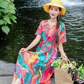 2020夏裝新款民族風大尺碼寬鬆棉麻連身裙文藝復古中長款碎花裙