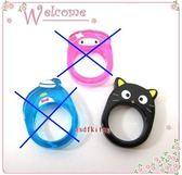 asdfkitty可愛家☆小黑貓固定戒圍塑膠戒指-歐美版正版商品