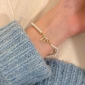 手鏈 甜美溫柔蝴蝶結珍珠手鏈ins小眾設計個性高級感冷淡輕奢精致手飾 小衣里