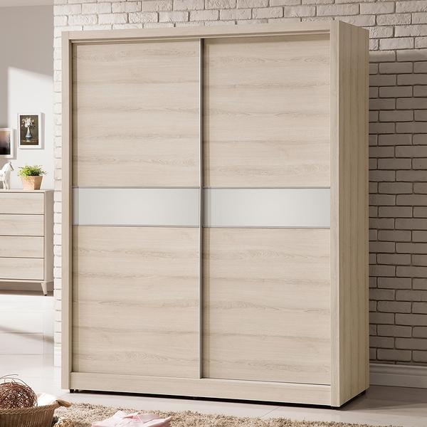 【森可家居】艾瑪5尺推門衣櫃 8ZX398-6 衣櫥 左右拉門