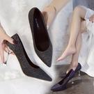細跟鞋 新款韓版百搭尖頭淺口亮片單鞋性感高跟鞋職業貓跟鞋 - 古梵希