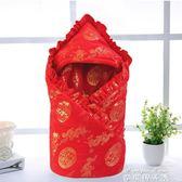 初生嬰兒用品抱被純棉春秋冬款大紅色寶寶包巾抱毯新生滿月包被子 麥琪精品屋