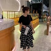 大碼女裝春夏新款微胖妹妹顯瘦中長款連身裙時髦減齡波點蛋糕裙子聖誕交換禮物