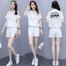 套裝休閒套裝女裝21新款潮韓版寬鬆大碼時尚短袖短褲運動夏季兩件套 快速出貨