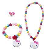 【卡漫城】 Hello Kitty  兒童飾品 三件組 彩珠 ㊣版 玩具 小女孩 扮家家酒 手鍊 戒指 項鍊 項鏈