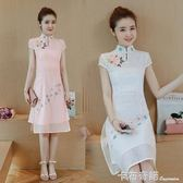 夏季新款中國風民族風繡花短袖洋裝學生改良民國風旗袍裙子 卡布奇諾
