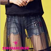 【SHOWCASE】花瓣圓襬23俏麗牛仔短褲(藍)