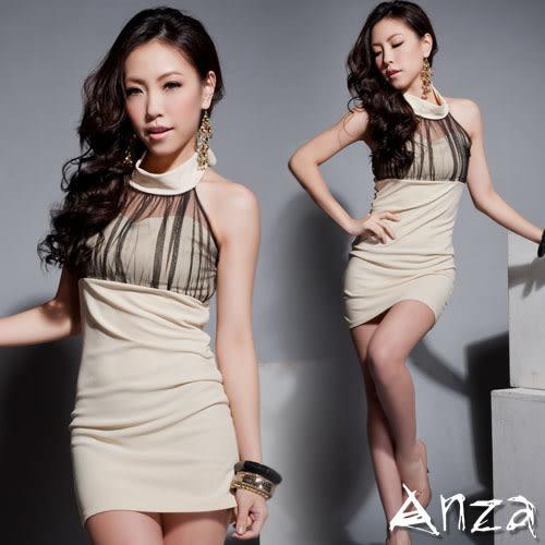 【AnZa】繞脖綁帶黑紗連身洋裝(二色)