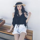 2019夏季新品性感吊帶雪紡衫女v領綁帶蝙蝠袖寬鬆顯瘦露肩上衣潮「寶貝小鎮」