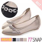 內增高-TTSNAP MIT方釦排鑽尖頭透膚網紗平底鞋 黑/銀/錫/金