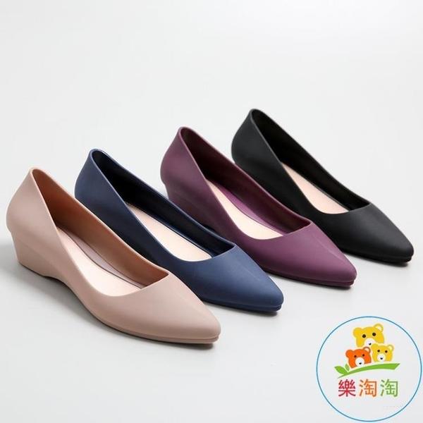 尖頭雨鞋女水鞋雨靴防滑短筒時尚坡跟淺口膠鞋可愛樂淘淘