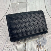 BRAND楓月 Bottega Veneta BV 深藍色 編織格紋 名片夾 經典款 羊皮材質 零錢包 小錢袋