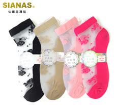 SN-3119 台灣製 仙娜思繽紛玫瑰花蠶絲船形襪 透膚網紗 水晶襪 玻璃襪