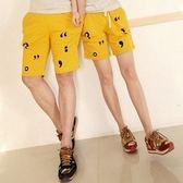 褲 2014夏裝最新韓味個性符號時尚인쇄印畫情侶裝短바지褲 休閒運動五分褲