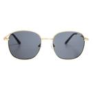 Quay Australia澳洲品牌 JEZABELL圓角方框墨鏡太陽眼鏡 灰藍色/金框