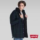 Levis 男款 羊毛外套 / Oversie 寬鬆版型 / 復古藍綠格紋 / Sherpa棉花絨領