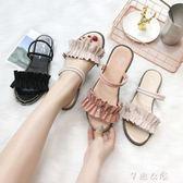兩穿露趾涼鞋女夏季新款韓版百搭黑色學生沙灘鞋度假平底涼鞋      芊惠衣屋