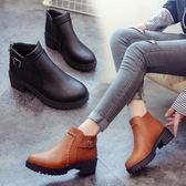 圓頭馬丁靴復古厚底粗跟短筒女靴子中跟短靴