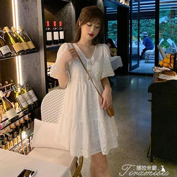 蕾絲洋裝 2020夏新款白色泡泡袖連衣裙仙女氣質收腰小個子顯瘦清新蕾絲裙子 快速出貨