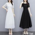 雪纺洋裝 白色仙女連身裙夏2021新款短袖繡花仙氣中長款修身顯瘦雪紡長裙女 智慧