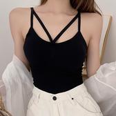 小可愛 小吊帶背心女夏外穿網紅爆款美背內衣交叉帶胸墊性感針織打底上衣