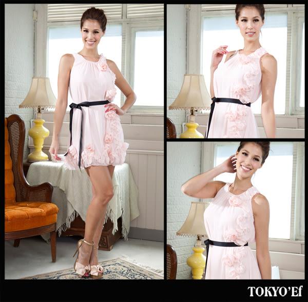 東京衣服-柔情玫瑰 雪紡花飾傘型綁帶洋裝小禮服 粉