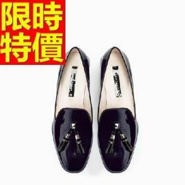 女牛津鞋-漆皮美式風細緻繫帶圓頭女皮鞋3色65y6【巴黎精品】