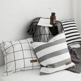 沙發抱枕套不含芯幾何純棉北歐現代簡約全棉帆布藝汽車靠墊