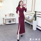 長袖洋裝 新款2020性感V領顯瘦不規則長裙氣質收腰開叉連身裙尾牙禮服 『麗人雅苑』