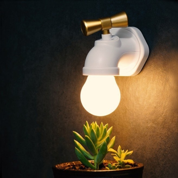 復古水龍頭LED小夜燈 智能聲控.光感模式 牆壁工業風LOFT壁燈水滴(黃光)