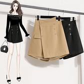 高腰雙排扣闊腿短褲女L-4XL大碼女裝寬松外穿百搭顯瘦a字靴褲4F031韓衣裳