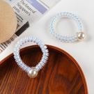 韓國ins可愛人魚色珍珠電話圈髮圈髮繩 少女心夢幻橡皮筋鐳射頭繩 88608